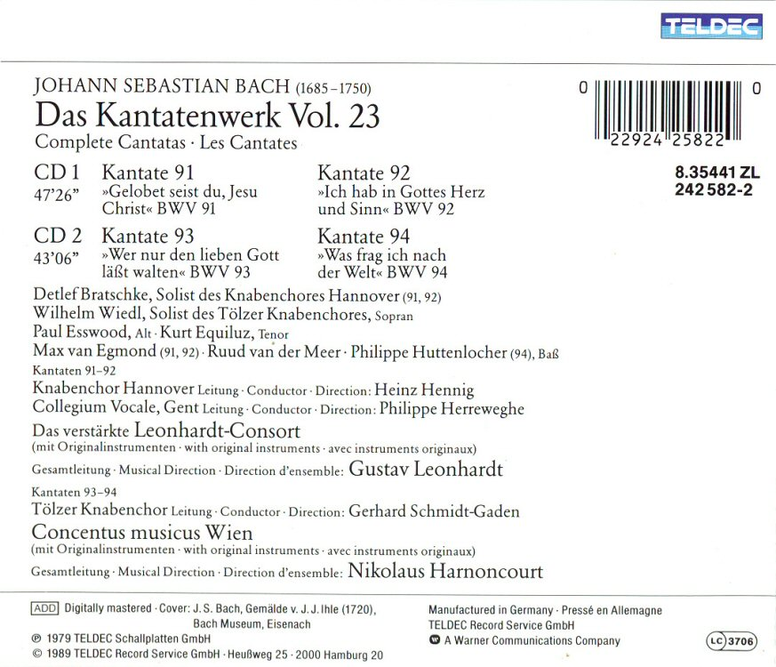 Cantata BWV 94 - Details & Discography Part 1: Complete Recordings
